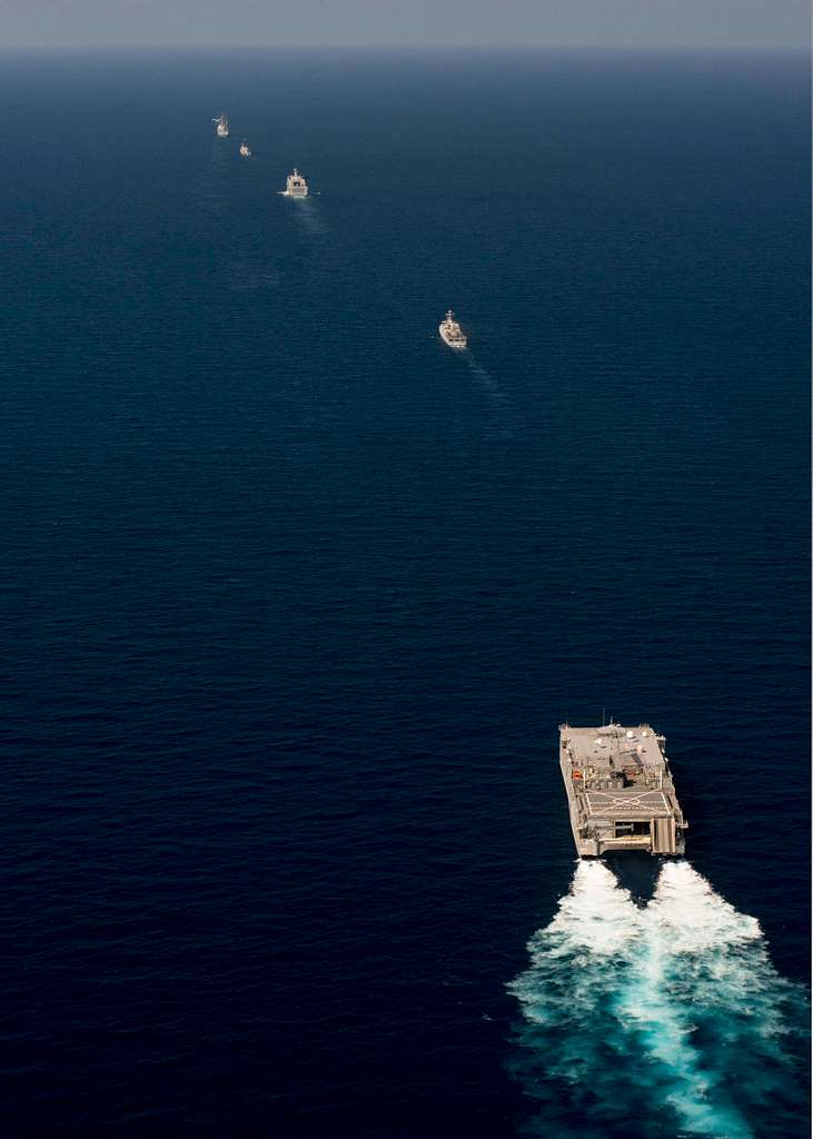 Ships participating in Cooperation Afloat Readiness and Training (CARAT) Indonesia 2016 are shown underway in formation