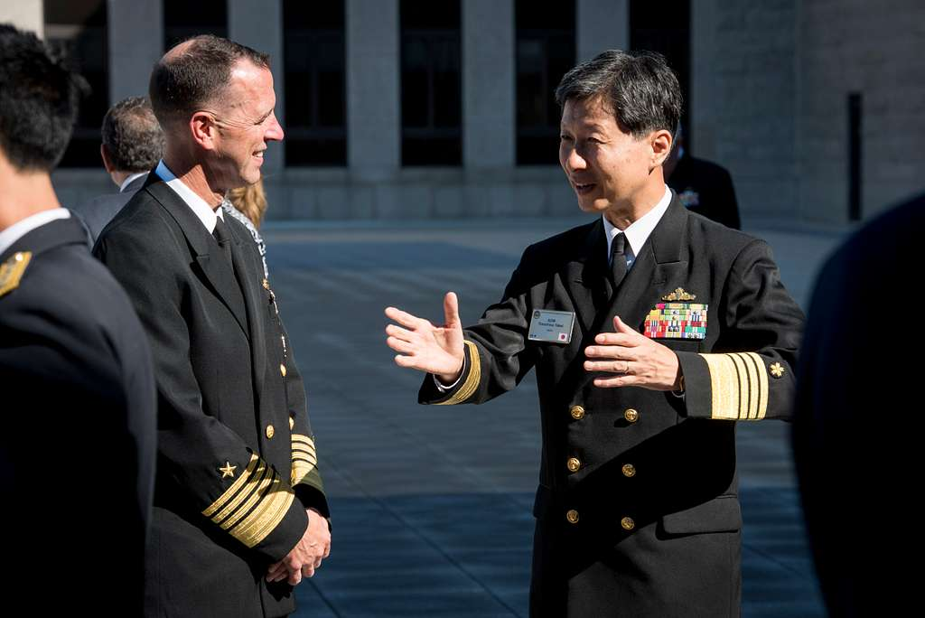 Chief of Naval Operations (CNO) Adm. John Richardson talks with Chief of Staff, Japan Maritime Defense Force Adm. Tomohisa Takei during the 22nd International Seapower Symposium (ISS) at U.S. Naval War College in Newport, Rhode Island.