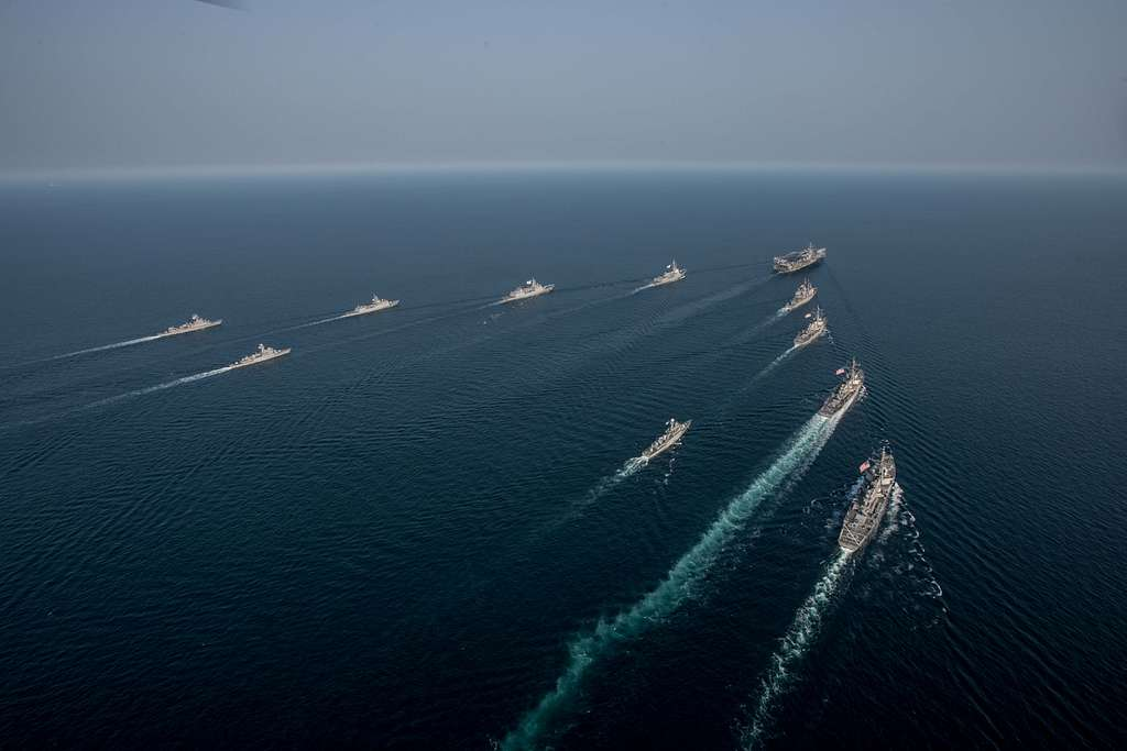 The Navy's only forward-deployed aircraft carrier, USS Ronald Reagan (CVN 76), steams in formation with ships from Carrier Strike Group Five (CSG 5) and the Republic of Korea Navy (ROKN) during Exercise Invincible Spirit.