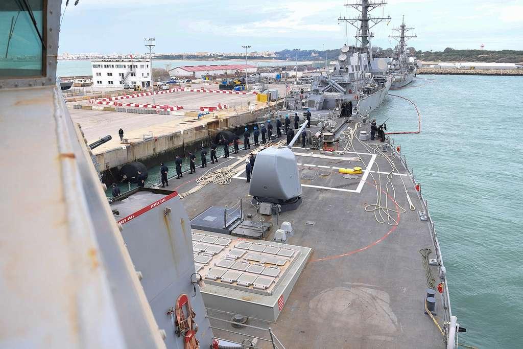 USS Donald Cook (DDG 75) departs Naval Station Rota, Spain.