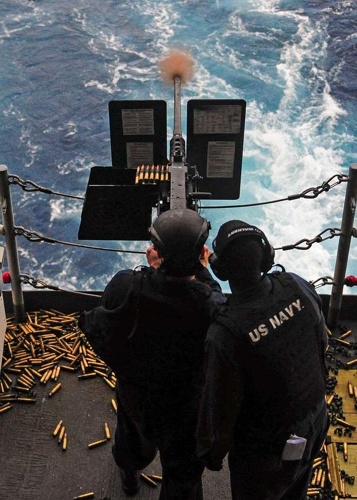 A Sailor fires a .50-caliber machine gun during an arms training evolution aboard the aircraft carrier USS George Washington (CVN 73).