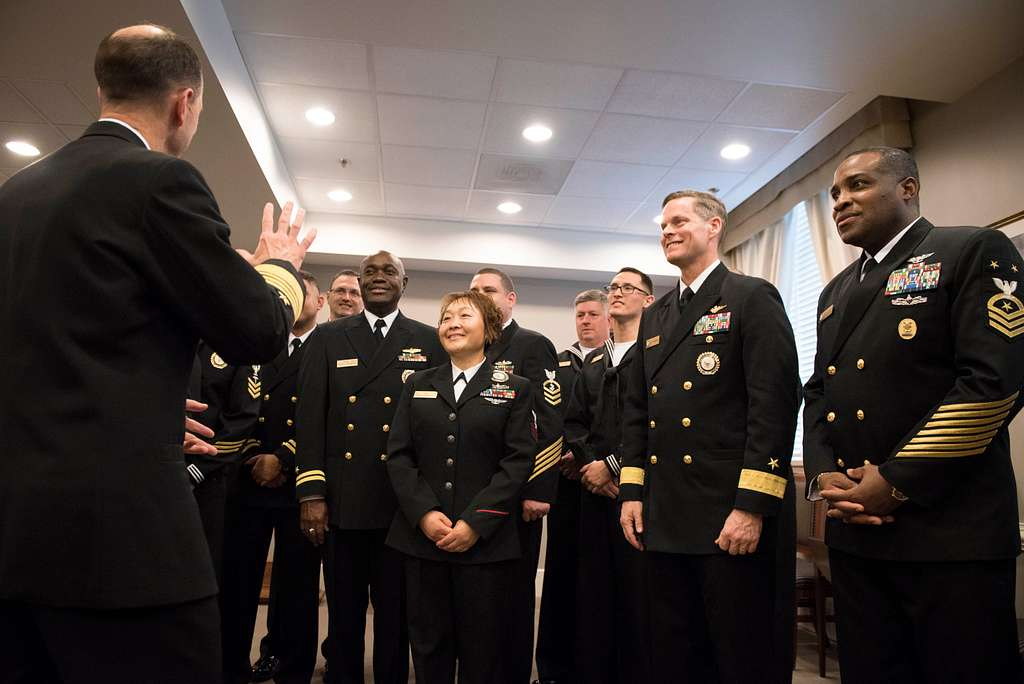 Chief of Naval Operations Adm. John Richardson meets with Navy Recruiting Command's 2016 Recruiters of the Year at the Pentagon in Arlington, Va.
